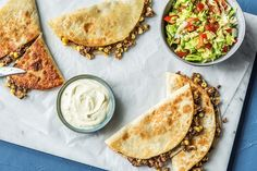 Quickdraw Quesadillas with Tomato Salsa and Citrus Sour Cream from hello fresh Fajita Seasoning, Corn Salsa, Dinner Options, Salsa Recipe, Plates And Bowls, Summer Recipes, Sour Cream, Family Meals, Yummy Food
