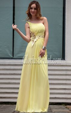 Gorgeous One-shoulder A-line Long Floor-length Prom Homecoming Dress e46ca1f1a028
