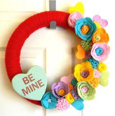 Be Mine Conversation Heart Valentine's Day Wreath: 14 inch Felt an Yarn Wreath