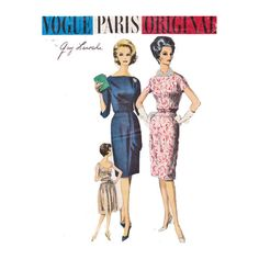 Vogue Paris Original designed by Guy Laroche 1058 Size 16 Bust 36 dress with slim or slight flare skirt sewing pattern