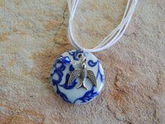 Porcelain Pendant White Blue Pendant Focal by UniqueChiqueJewelry, $15.00