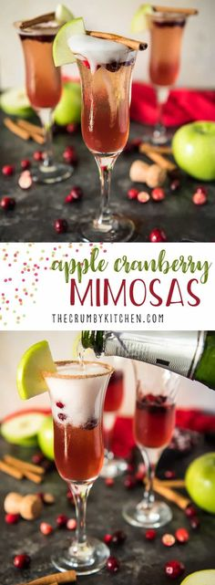 These fun and festive 3-ingredient Apple Cranberry Mimosas will make any holiday breakfast extra special - just don't forget the cinnamon-sugar rim! #12DaysofThanksgiving #thecrumbykitchen #apple #cranberry #mimosa #holiday #cocktail #recipe #brunch #mimosas #Christmas #Thanksgiving #fall #autumn #recipes #drink #champagne #applecider #cranberryjuice