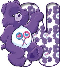 Alfabeto Morado de Care Bears, Ositos Cariñositos.
