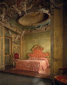 Bedroom from Sagredo Palace, Venice, 18th century (ca. 1718)  Stuccowork probably by Abbondio Stazio of Massagno (1675–1745) and Carpoforo Mazzetti (ca. 1684–1748); ceiling painting probably by Gaspare Diziani of Belluno (1689–1767)  Italian (Venice)  Wood, stucco, marble, glass
