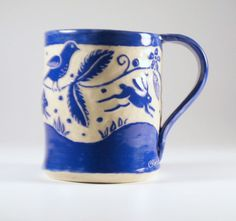 MUG Running Bunnies Sgraffito Carved Design on Stoneware Pottery Rabbits