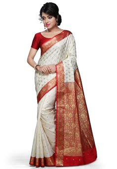 Off White and Red Art Silk Saree with Blouse: SUL470
