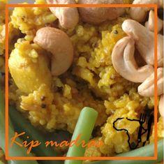 Kip madras een simpel recept met kip, rijst kerrie en perzik.