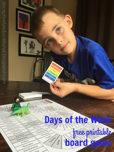 Relentlessly Fun, Deceptively Educational: Days of the Week {free printable board game} Educational Board Games, Board Games For Kids, Game Boards, Printable Board Games, School Calendar, Classroom Games, Fun Learning, Learning Tools, Worksheets For Kids