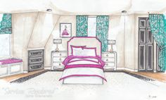 Girls Bedroom designed by @Roxanne R. Lumme Interiors . Fresh, colorful and very Chic! The perfect room for sleepovers and a girl with dreams of becoming a Fashion Designer. I see pretend Project Runway in the future!  @Roxanne R. R. R. Lumme Interiors   http://roxannelummeinteriors.com