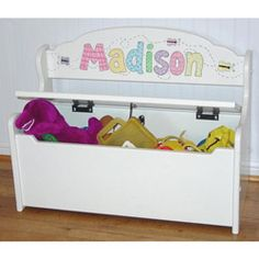 Gloss White Deacon Toy Bench Personalized Kids Toy Boxes - aBaby.com