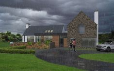 Contemporary house in Cavan, influenced by traditional rural architecture. The house is broken into a series of individual blocks representing the traditional cottage and associated outbuildings. The building is clad in natural stone and render. Modern Bungalow House, Bungalow Exterior, Modern House Design, Bungalow Designs, House Designs Ireland, Farmhouse Renovation, Rural Retreats, Architect House, External Render