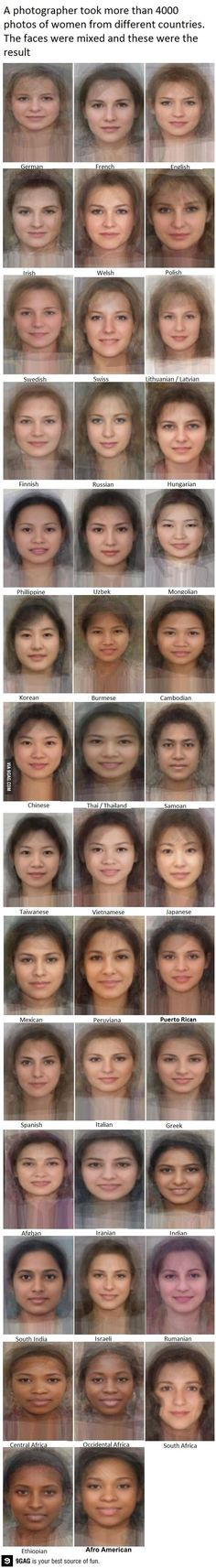 Average face from women from different countries Non è incredibile come siano TUTTE belle?