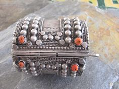 West Yemen   Antique silver and Mediterranean coral Bedouin bracelet, from the cost in the Tihama region.   ca. 1940   Euro 190