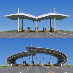 Buy Highway toll station by huangxingcheng on 2010 production File has many Have adjusted the lights and materials, can be rendere. Parametric Architecture, Landscape Architecture Drawing, Museum Architecture, Concept Architecture, Architecture Design, Membrane Structure, Roof Structure, Steel Structure, Design Entrée