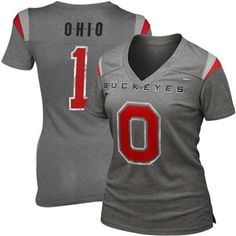 Nike Ohio State Buckeyes Premium Ladies Football Replica T-Shirt - Charcoal