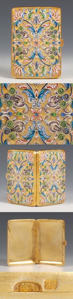 A Russian silver gilt and shaded cloisonne enamel cigarette case, Nikolai Zverev, Moscow, circa 1908-1917. Of rectangular form, the case decorated with multi-color scrolling floral and foliate motifs against a atippled gilded ground.