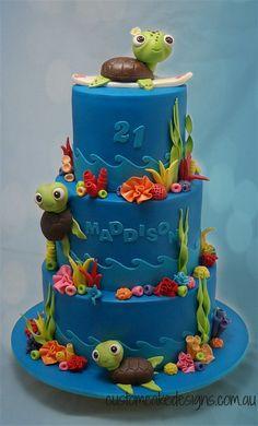 Turtle Underwater Sea Cake | by Custom Cake Designs