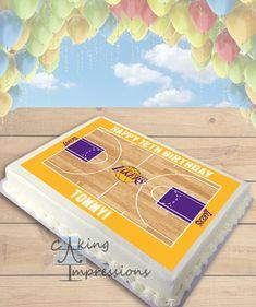 Basketball Court CHOOSE TEAM Edible Image Cake Topper [SHEET]