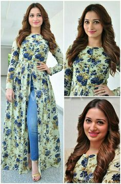 Tamanna Bhatia in mint green cape with dark blue floral print and blue skinny jeans..luv it♡