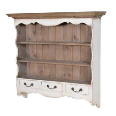 Colonial Range - Wall Shelf with Drawers This beautiful country kitchen style shelf unit with three drawers would be a charming addition to your home With two shelves and three handy drawers this makes an ideal storage / display piece for your kitchen or dining room Made from wood with an aged white painted finish this would compliment a variety of different home decor other items are avilable in this range £196.95 www.melodymaison.co.uk
