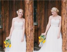 Beautiful country bride with sunflowers | rusticweddingchic.com