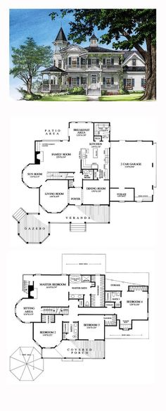 Victorian House Plan 86291 Total Living Area 3131 sq ft 4 bedrooms and 35 bathrooms Sims House Plans, Dream House Plans, House Floor Plans, Mansion Floor Plans, Floor Plans 2 Story, Castle House Plans, Victorian House Plans, Victorian Homes, Victorian Era