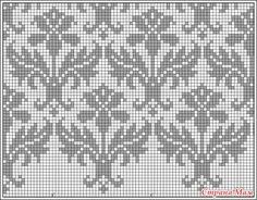 Kauni damask pattern - filet crochet, but I'll stitch it for a cushion. Knitting Charts, Knitting Stitches, Knitting Needles, Free Knitting, Knitting Patterns, Crochet Patterns, Easy Knitting Projects, Knitting For Beginners, Tejido Fair Isle