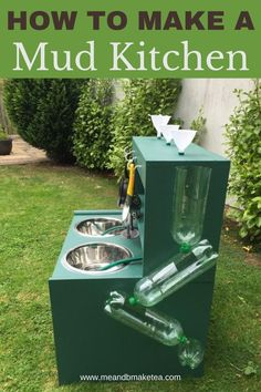 How to Make a Mud Kitchen on a Budget Tips and tricks for making a kid's mud kitchen without breaking the bank. Upcycle old furniture and use what you have in the home alread. The pound and dollar shops and stores are ideal for mud kitchen accessories. #mudkitchen #upcycle #recycle #play #sensory