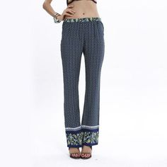 Boho Style Women's Floral Print Loose Trousers Casual Wide-leg Retro Print Ice Silk Pants (8 Colors for Choice)