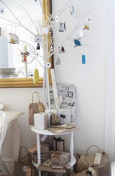 White Branches with Ornaments.  Cute Christmas DIY!