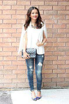 White Cape Blazer Vintage Chanel Bag Blogger Outfit