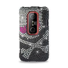 Reiko 3D Skull Hard Cover Case Full Diamond Skin for HTC Evo - Black #Reiko
