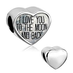 "awesome ""I Love You To The Moon and Back"" Heart Jewelry Photo Beads fit Pandora Charm Bracelet"