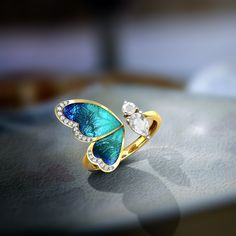 One Wing Blue Butterfly Ring Jewellery India Online - Cute rings - Requisit Gold Rings Jewelry, Cute Jewelry, Antique Jewelry, Jewelry Accessories, Jewelry Design, Jewelry Box, Jewelry Armoire, Jewelry Making, Diamond Jewelry