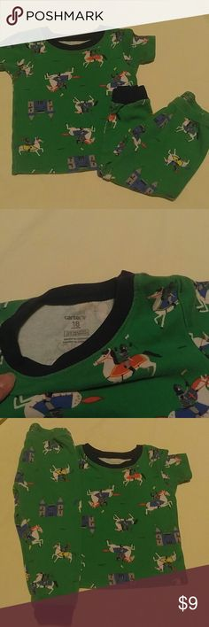 Carter's Knight pj set Kelly green with tiny Knights on their steeds and little castles. Short sleeve and long pants. Size 18 months and in gently used condition. Navy blue hem and cuff Carter's Pajamas Pajama Sets