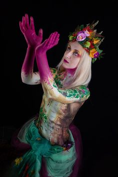 Woodland Nymph shoot.  Fantastic day working with fabulous, fun and very elegant model Rebecca Williamson and supercool images from Brian Pierce  #woodland #nymph #ivy #ash #tree #pink #bollywood #cameleonpaints #crown #flowers #jennymrquis #brushstrokesbodyart #bodyart #bodypaint #facepaint