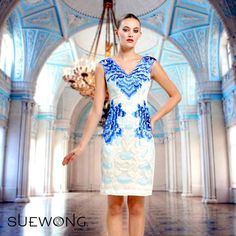 Sue Wong sleeveless v-neck full embroidered cocktail dress... #teamsuewong #suewong #fashion #hautecouture #couture #picoftheday #glamorous #colorful