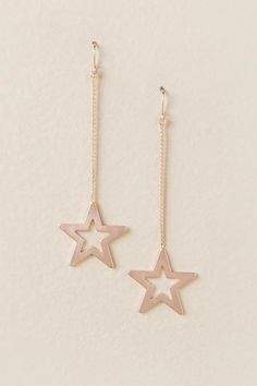 Lena Chain Star Drop Earring In Rose Gold