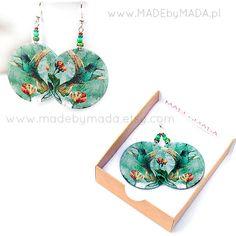 Hummingbird Earrings jade green dangle Romantic  Round decoupage earrings Bird motif diameter 4cm (1,57 inch) ,  gift for her under 25. , via Etsy.
