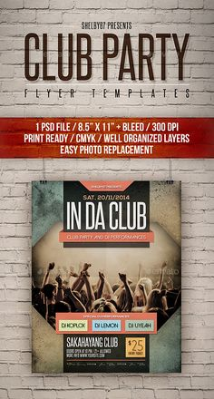 Club Party Flyer Templates #girl #event Download : https://graphicriver.net/item/club-party-flyer-templates/11539828?ref=pxcr
