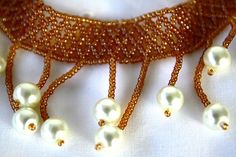 Orange Brown Fringe Collar Stitch Seed Bead Necklace by hobitique, $32.00