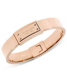 Michael Kors Bracelet, Rose Gold-Tone Logo Plaque Bangle Bracelet - Fashion Jewelry - Jewelry & Watches - Macy's