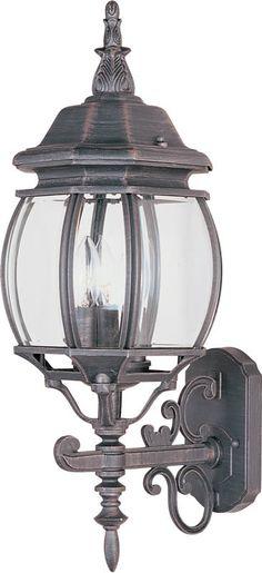 "0-007488>24""""h Crown Hill 3-Light Outdoor Wall Lantern Rust Patina"