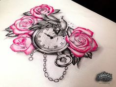 Watch with flowers and bird