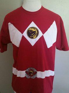 Men's Mighty Morphin Power Rangers Red Tee XL  #MightyFine #GraphicTee
