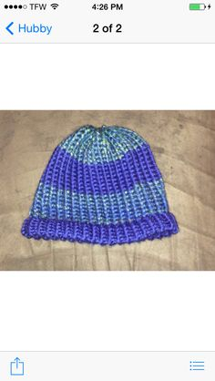 Men's/teen age boys Lion Brand Dual blue hat that My Hubby made! Knit loomed!