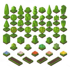 Green isometric tree vector set  @creativework247