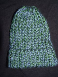 Royal Blue and Forest Green Knitted Baby Boy Hat with Brim