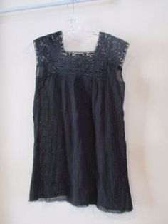 LUCKY BRAND lace top crepe bottom short dress OR blouse sz S #LuckyBrand