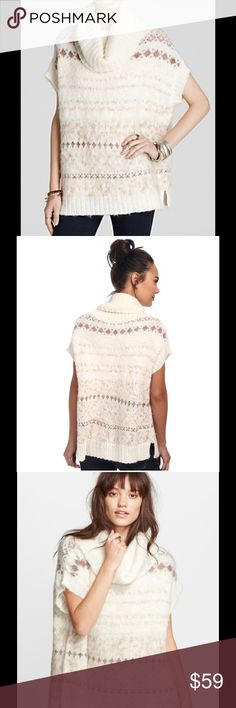 """Free People Snow Bunny fair isle sweater A blossomy cowl and short sleeves accentuate the playful, feminine vibe of a rib-trimmed sweater patterned in a Fair Isle-inspired motif. A durable knit infused with wool and alpaca hair shapes the cozy style. - Cowl neck - Short sleeves - Allover pattern - Ribbed trim - Approx. 26"""" length - Imported Fiber Content 65% acrylic, 27% wool, 7% other fibers, 1% alpaca Care Hand wash cold Brand new with tag. Retail price $128. Free People Sweaters Cowl…"""
